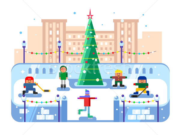 Helyhatósági korcsolyázás pálya karácsonyfa tél korcsolya Stock fotó © jossdiim