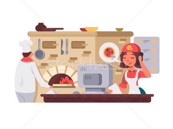 Cocina pizzería chef pizza operador negocios Foto stock © jossdiim