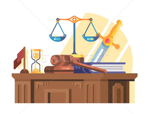 Jurisprudence court and law concept flat Stock photo © jossdiim