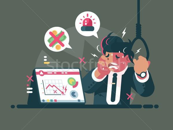 Handelaar paniek angst vallen markt crisis Stockfoto © jossdiim