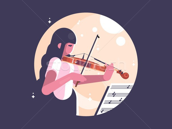 Stock photo: Girl playing violin