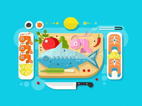 Mer alimentaire poissons produit saumon pièce Photo stock © jossdiim
