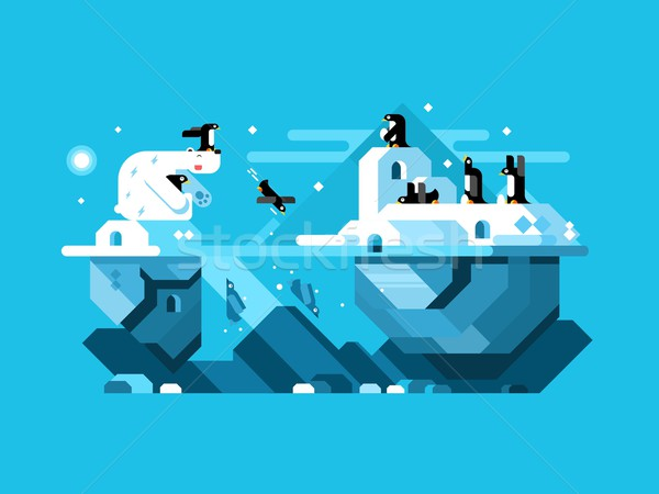 Arctic polar bear with penguins Stock photo © jossdiim