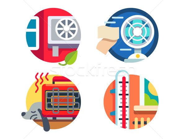 Climate control icons Stock photo © jossdiim