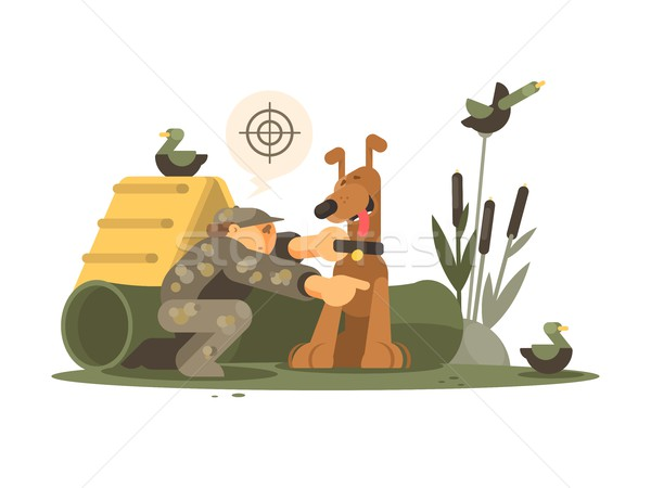 Cynologist training hunting dog Stock photo © jossdiim