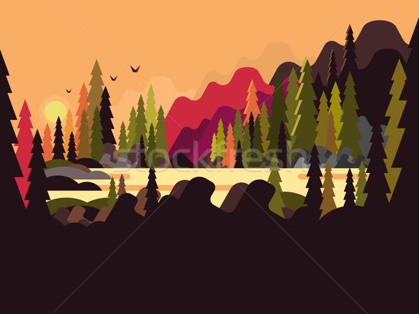 Landscape forest flat design Stock photo © jossdiim