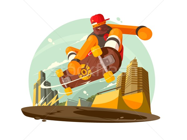 парень верховая езда скейтборде город модный вектора Сток-фото © jossdiim