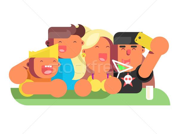 Groep vrienden discotheek partij nachtleven mensen Stockfoto © jossdiim