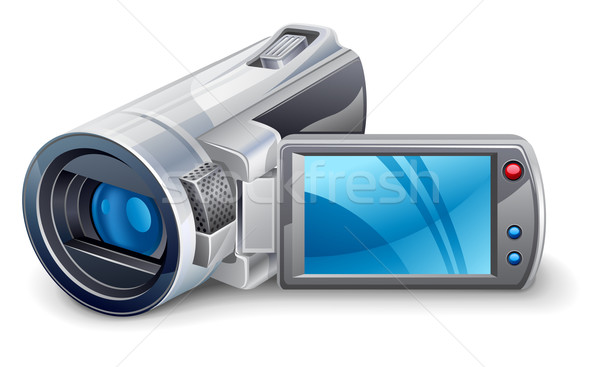 Videocamera witte Blauw digitale media multimedia Stockfoto © jossdiim