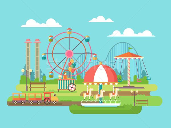 ストックフォト: 遊園地 · ライディング · 回転木馬 · 家族 · 休日 · 馬