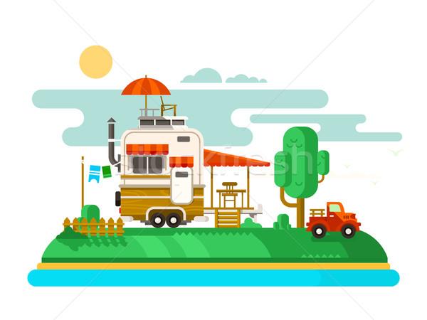 Vacation trailer flat design Stock photo © jossdiim
