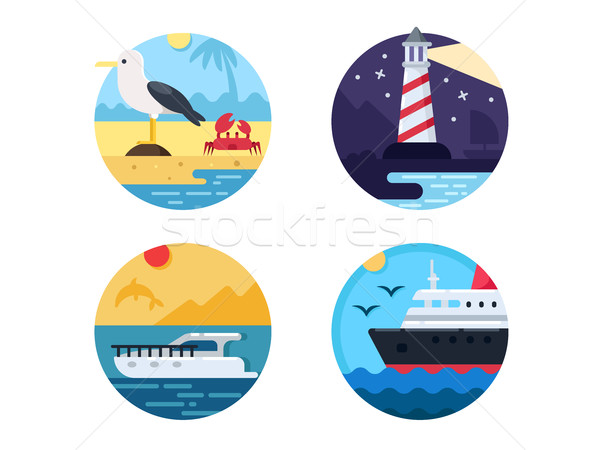 Sea travel set icons Stock photo © jossdiim