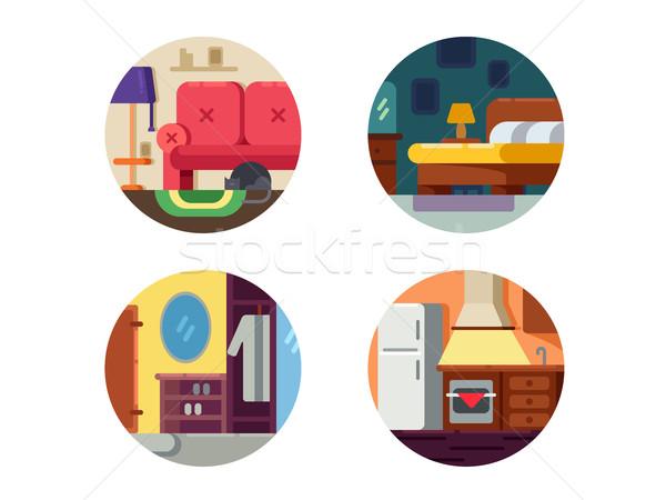 Stock photo: Set of furniture icons