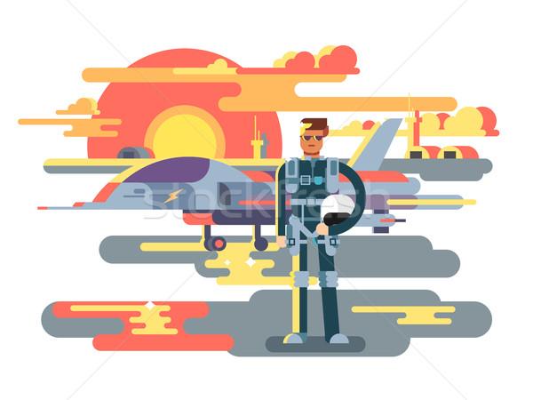Militärischen Pilot Mann Luftfahrt Flugzeuge Flugzeug Stock foto © jossdiim