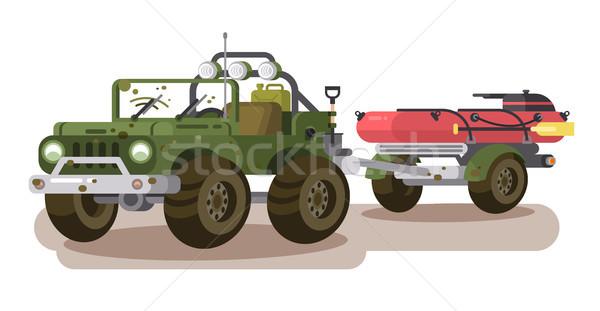 SUV car with trailer boat Stock photo © jossdiim