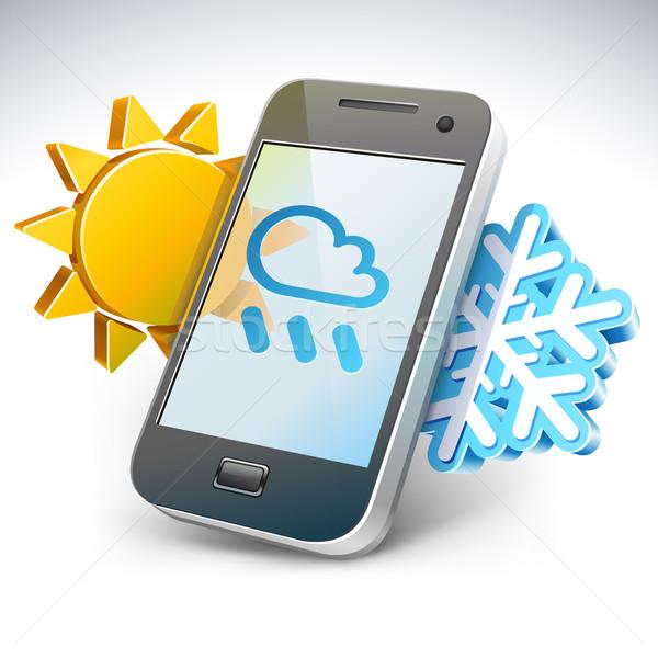 Weather on smartphone - illustration Stock photo © jossdiim