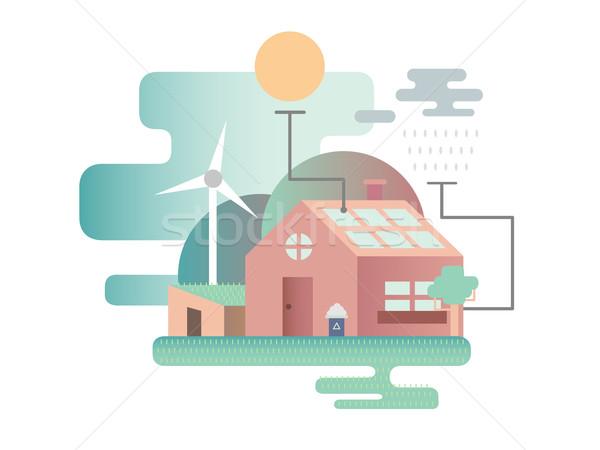 Eco house design flat Stock photo © jossdiim