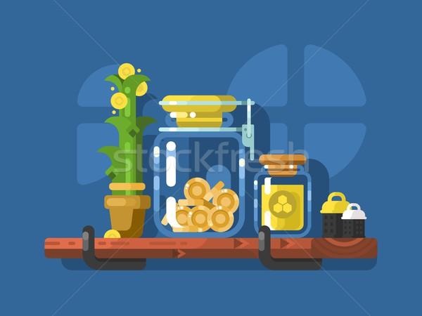 Savings and glass jar with coins Stock photo © jossdiim