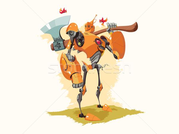 Konzervdoboz robot vektor illusztráció narancs madár Stock fotó © jossdiim