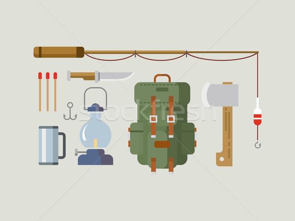 Fishing Hunting Items Flat Design Stock photo © jossdiim