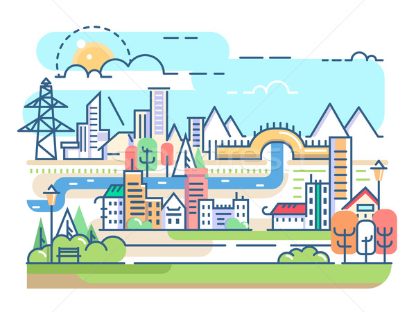 City with river and dwellings Stock photo © jossdiim