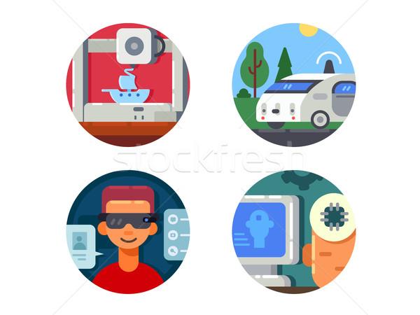 Innovative technology set icons Stock photo © jossdiim