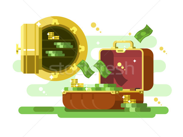 Suitcase and safe with money and golden coins Stock photo © jossdiim