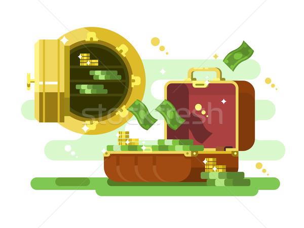 Koffer veilig geld gouden munten bank Stockfoto © jossdiim