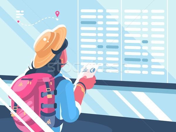 Meisje reiziger horloge schema vluchten vakantie Stockfoto © jossdiim