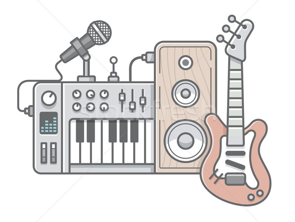 Music tools in wireframe style: guitar, synthesizer, microphone, Stock photo © jossdiim