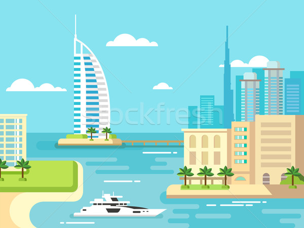 Dubai città spiaggia skyline panorama sfondo Foto d'archivio © jossdiim