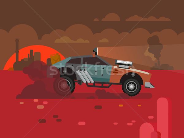 вождения быстро ретро автомобилей пустыне закат Сток-фото © jossdiim