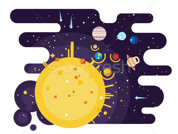 Sistemul solar stil Lună pluton pământ glob Imagine de stoc © jossdiim