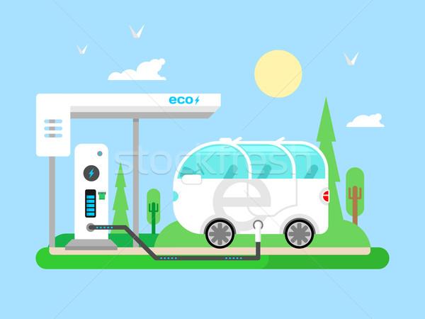 Elektryczne pojazd transport elektrycznej paliwa moc Zdjęcia stock © jossdiim