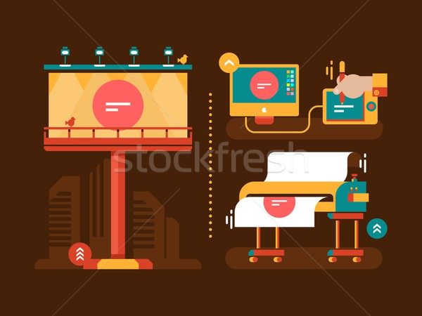 Process of creation outdoor advertising Stock photo © jossdiim