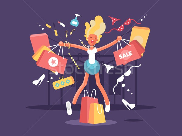 Young blonde goes shopping Stock photo © jossdiim