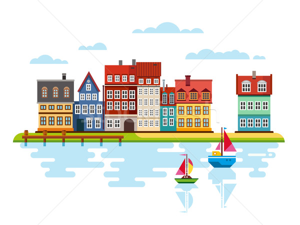 Porto beira-mar barcos rio vetor casa Foto stock © jossdiim