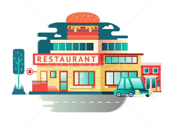 Restaurant building flat design Stock photo © jossdiim