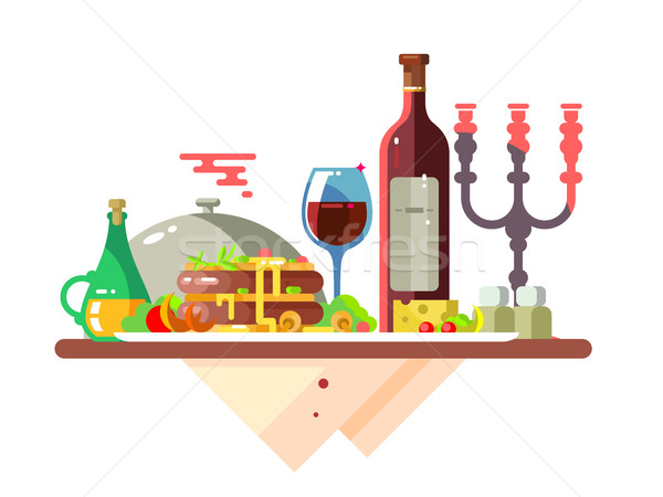 Dinner table with food at restaurant Stock photo © jossdiim