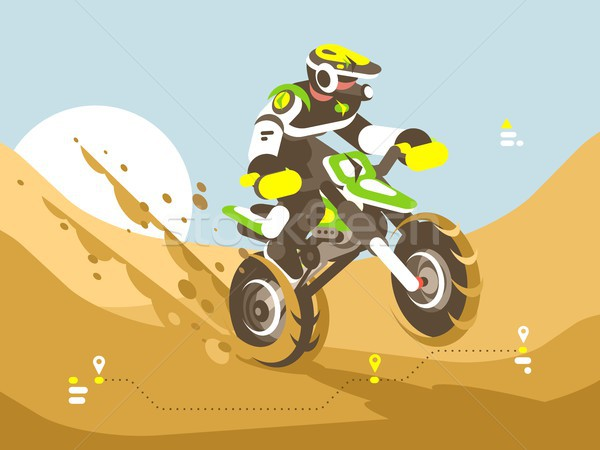 Motorcyclist racing in desert Stock photo © jossdiim