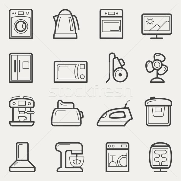 иконки стиральная машина чайник печи телевизор Сток-фото © jossdiim