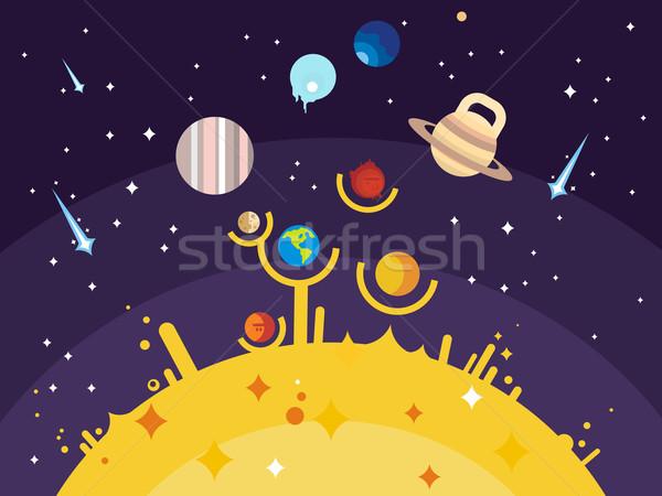 Sistema solar estilo lua plutão terra sol Foto stock © jossdiim