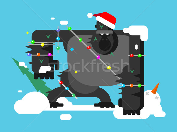 Christmas gorilla character Stock photo © jossdiim
