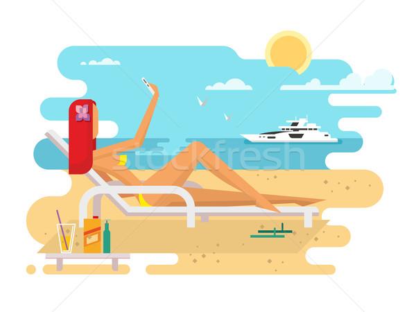 Girl on beach design flat Stock photo © jossdiim