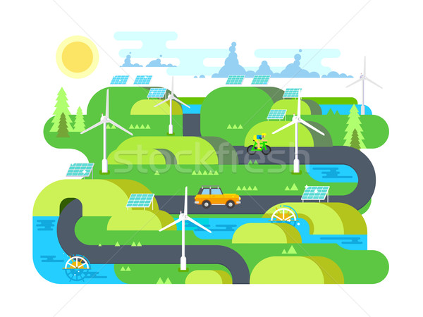 Green energy flat design Stock photo © jossdiim