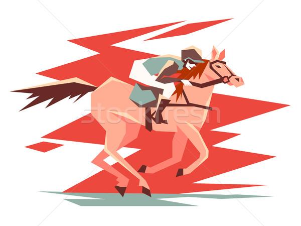 Lovas lóverseny csődör hamar férfi ló Stock fotó © jossdiim