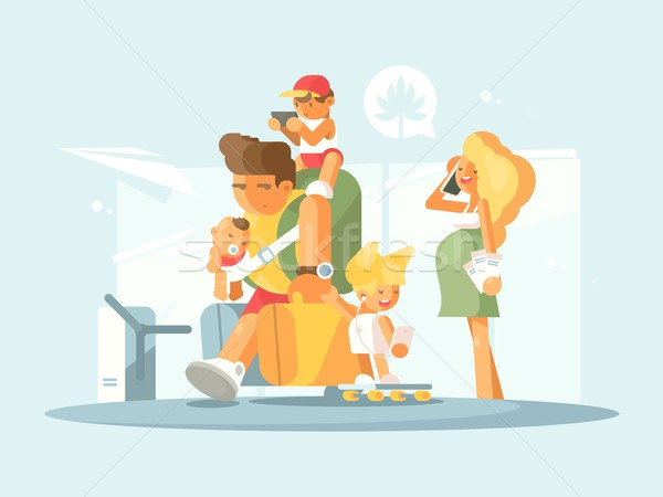 Young family at airport Stock photo © jossdiim