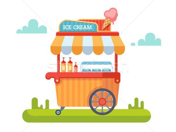 Trolley with ice cream Stock photo © jossdiim