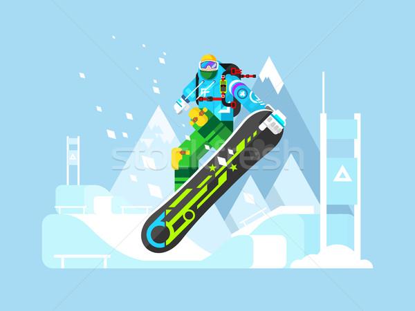 Deporte atleta snowboard diseno Foto stock © jossdiim