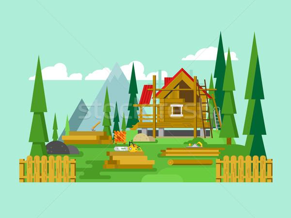 Huisje bouw hout tool materiaal hout Stockfoto © jossdiim